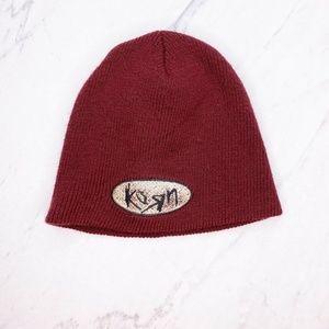 Vintage Korn Burgundy Hat Beanie 90's 2000's Y2K